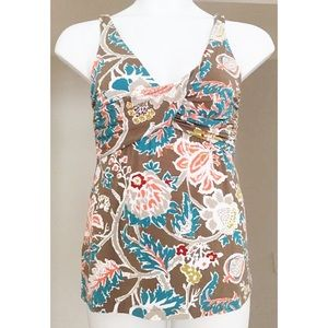 TOMMY BAHAMAS Ruched Floral Multi Col Tank Top